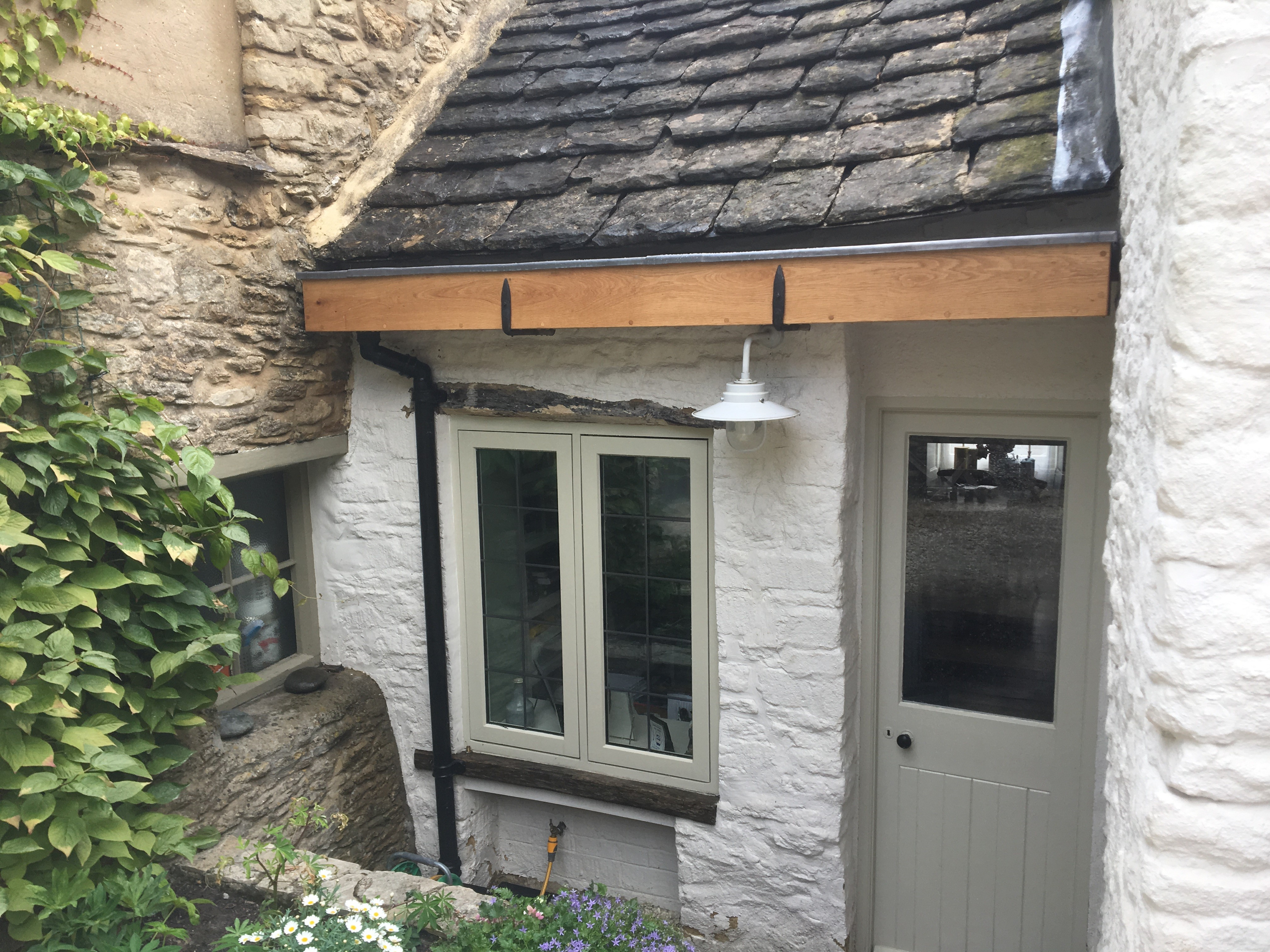 Lead gutter fitted