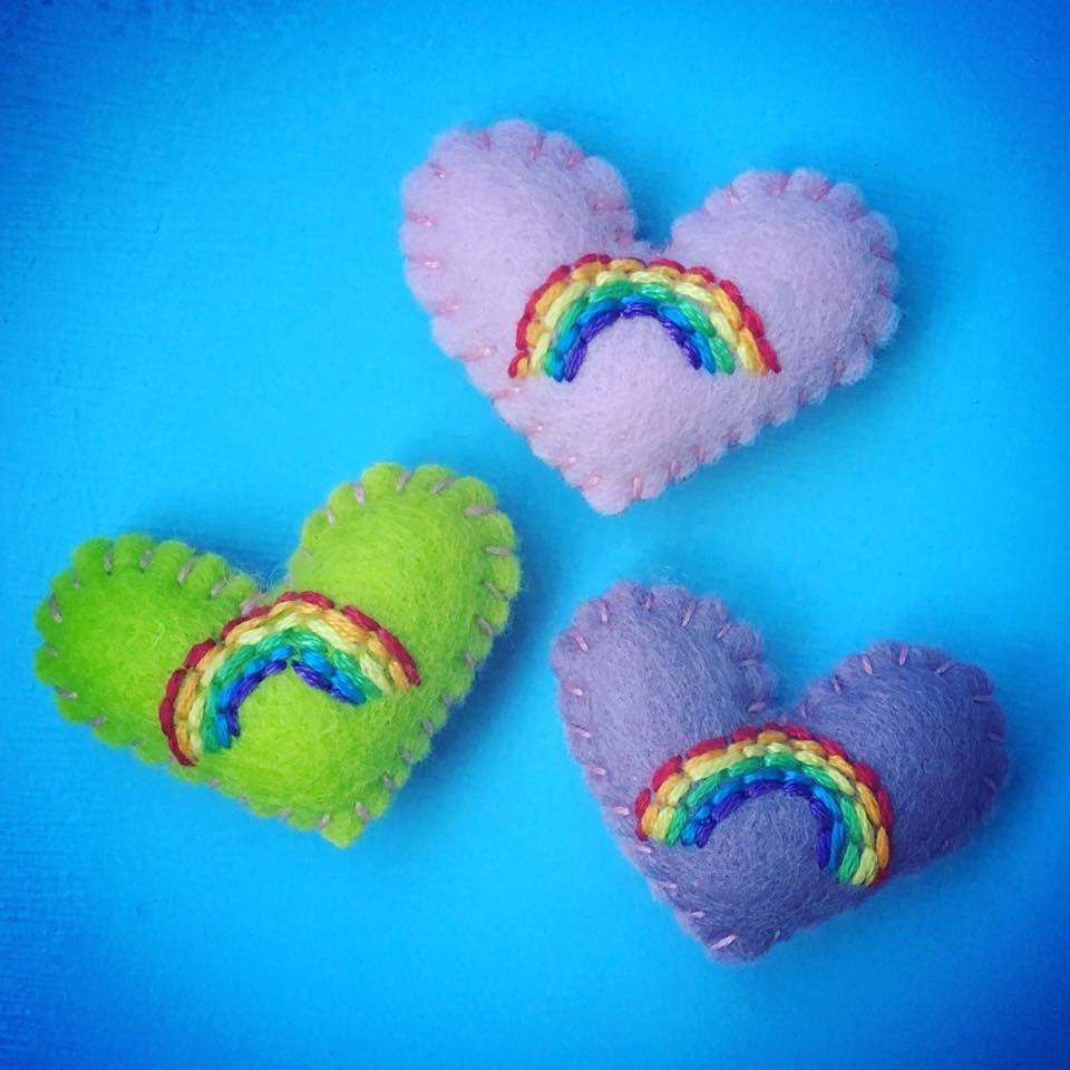 three coloured hearts