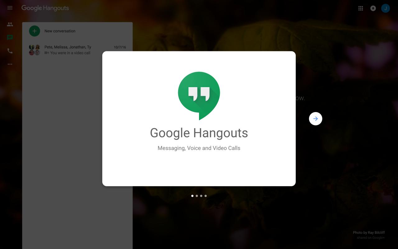 Google Hangouts' New User Onboarding