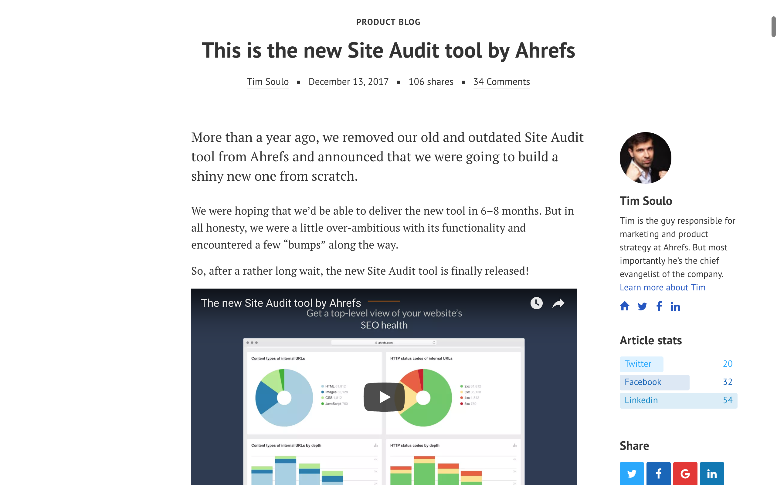 Ahref's New Feature Blog Post
