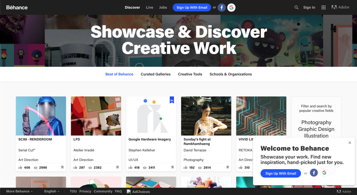 "This is a screenshot of Adobe's Behance website homepage. The header has collage of images and text that says ""showcase & discvoer creative work"". Single sign on buttons are prominent in the top navigational menu. A gallery of designer images is at the bottom of the screen."