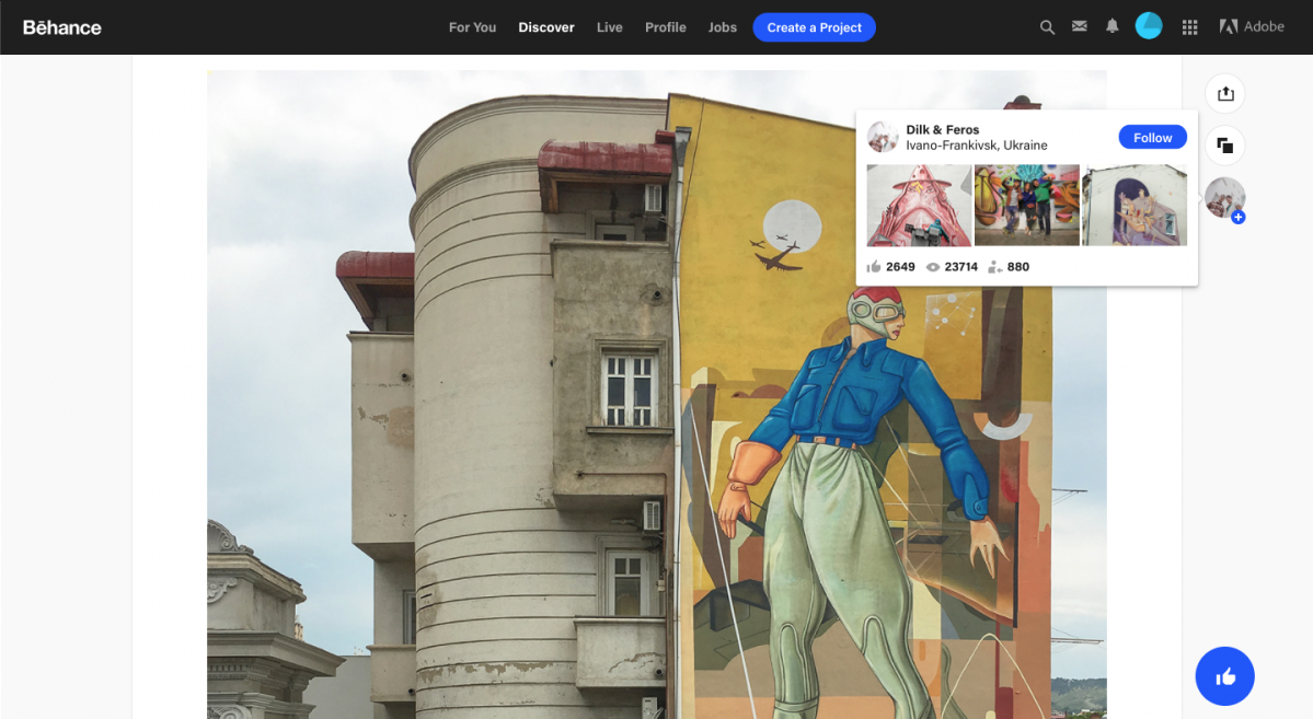 This is an example of a tooltip with a follow button CTA from Behance. It shows artwork on the screen and a tooltip that has popped up over the social profile of the artist.