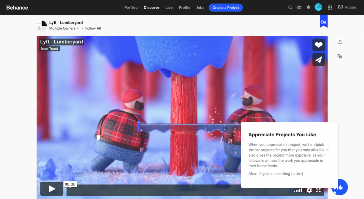 "This image shows a video project on behance with a hotspot beacon ui pattern and a tooltip with the title ""appreciate projects you like"". This is an example of unobtrusive UI and good UX copywriting"