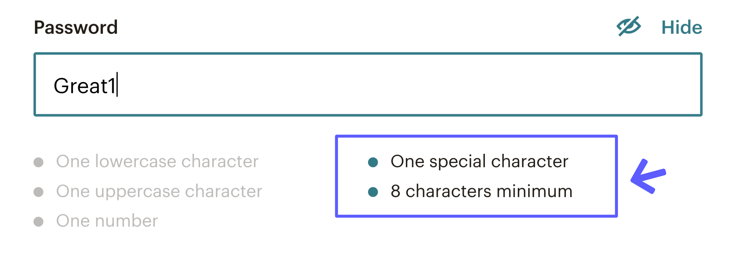 This is an image of a realtime password checker which is an example of good UX. Below the password field is a lsit of requirements. this has been highlighted with a drawn box and arrow