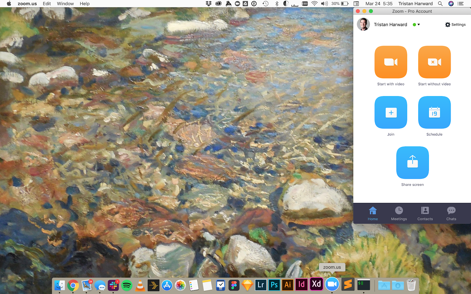 This is a screenshot image of a desktop with the zoom video conferencing desktop app, showing 5 large cta buttons, 2 orange, 3 blue.