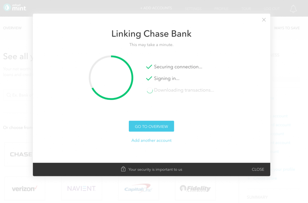 this is a screenshot image of a loading screen design from financial app mint. this screen from their web app shows a modal window that includes a loading circle and an animated checklist