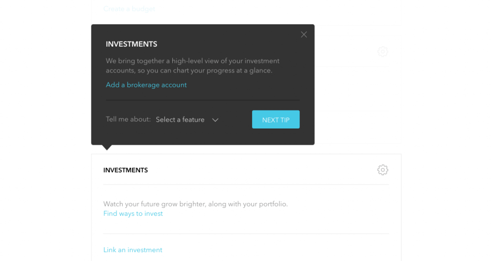 this is a screenshot image from personal finance app mint. this is an example of a tooltip used in a fintech web app. the tooltip includes a header, ux copy, links, and a CTA button