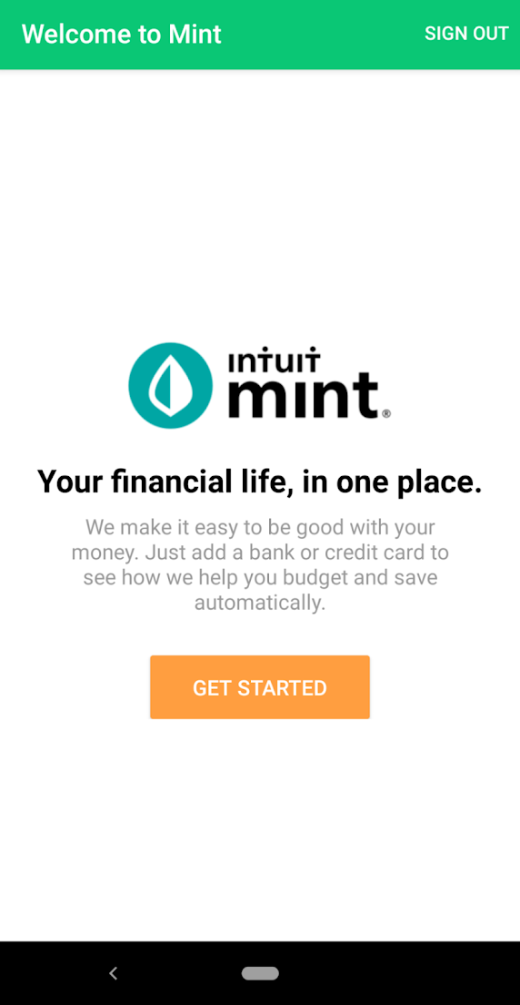 this is a screen capture of mint by intuit's mobile app welcome signup screen