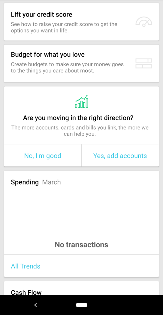 this is a screen capture of mint by intuit's mobile app showing its intuive interface and ux copy. this is an example of easy to navigate mobile ux
