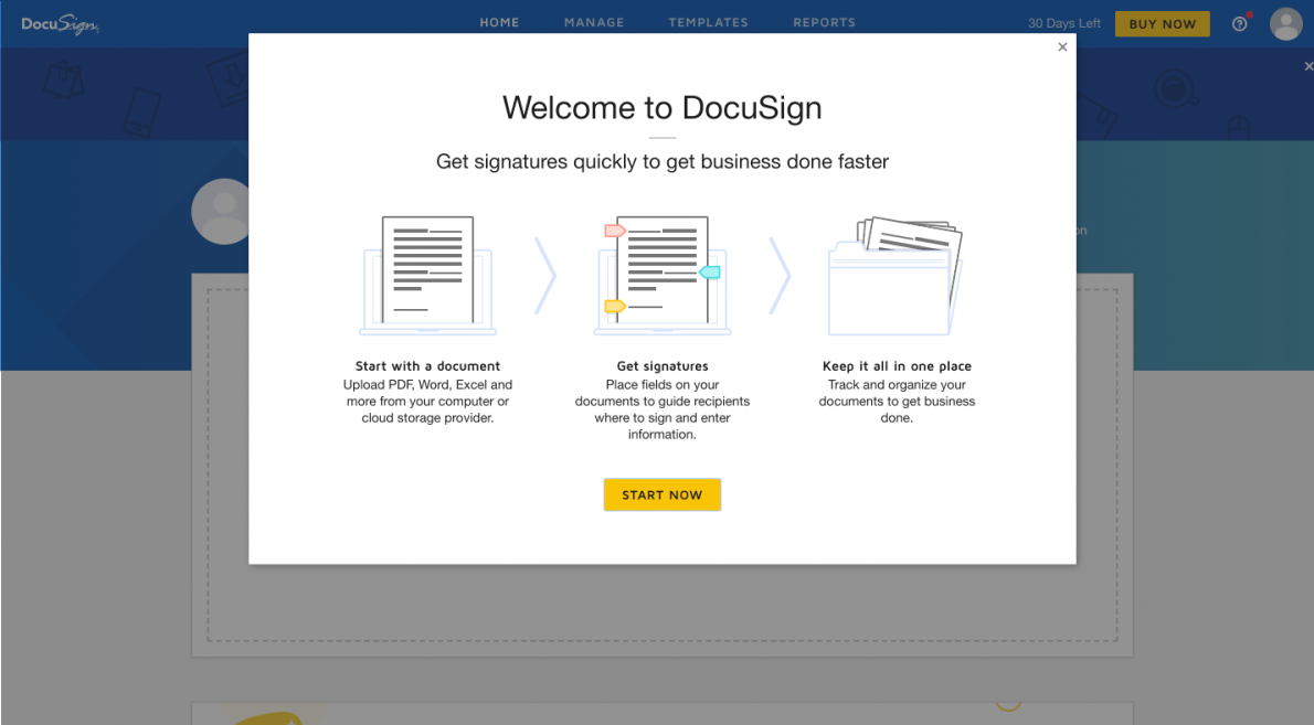 "this is a screenshot image of a welcome modal dialog window from docusign's onboarding flow. the modal says ""welcome to docusign"" and includes 3 icons with ux copy and a yellow start button"