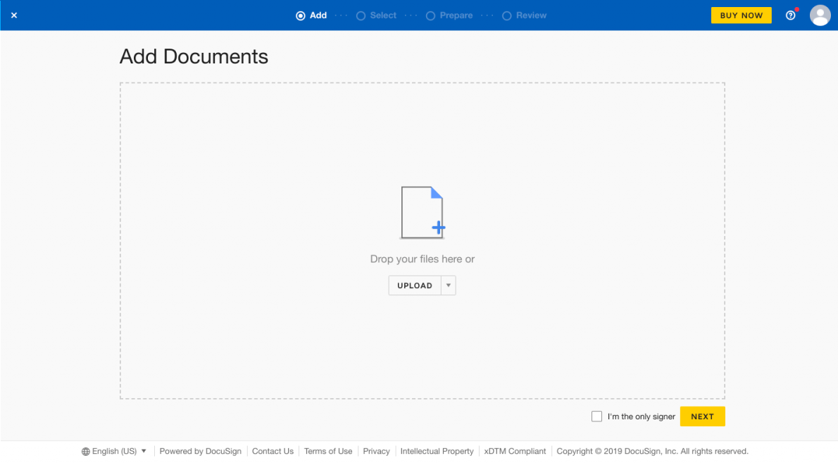 this is a screenshot image of docusign's onboarding walkthrough showing an empty state drag and drop field for adding new documents