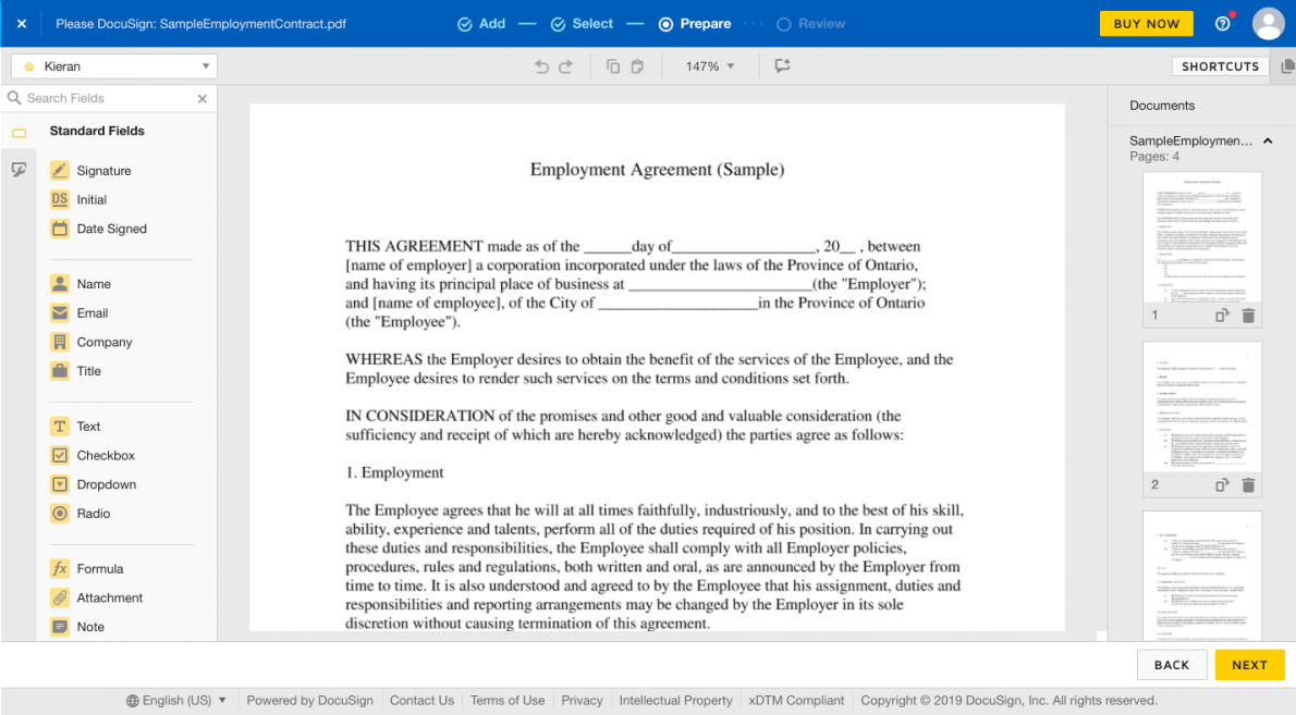 this is a screenshot image of a sample document in docusign's onboarding process that shows clickable ui elements on the lefthand side of the screen and an example document