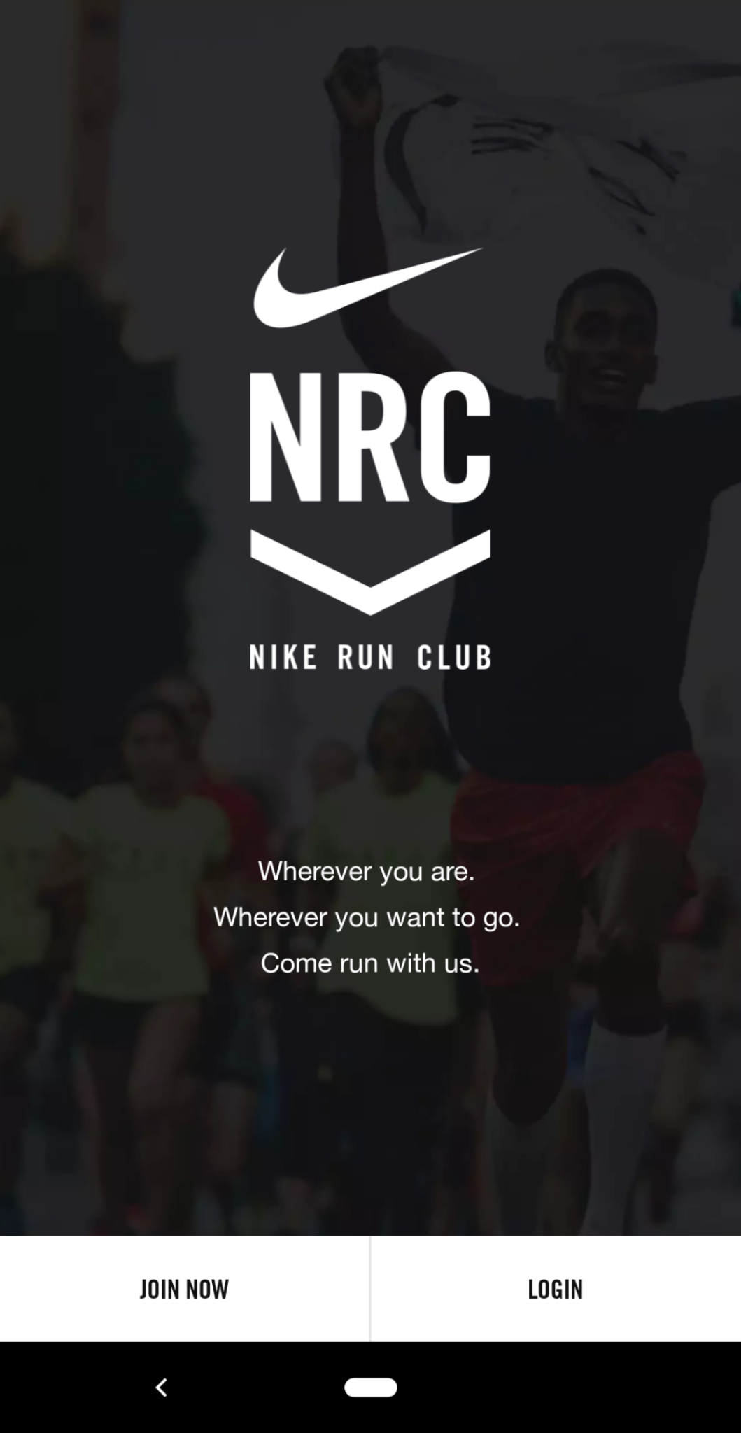 this is a mobile screenshot image of the nike run club app login screen