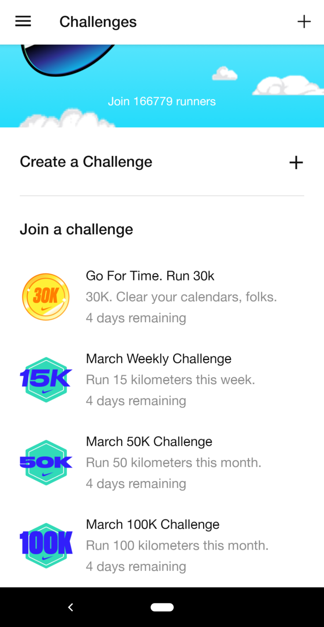 this is a mobile screenshot image of the nike run club app that shows a list of challenges with icons. this feature is an example of gamification and is designed to increase user motivation and engagement