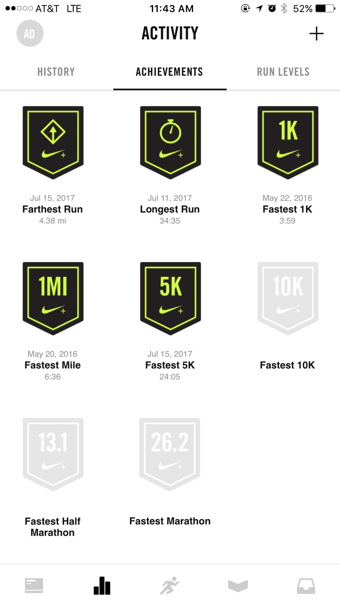 this is a mobile screenshot image of the nike run club app that shows the activitiy screen with a list of achievements. these nike achievement badges are an example of gamification and rewarding users to increase motivation