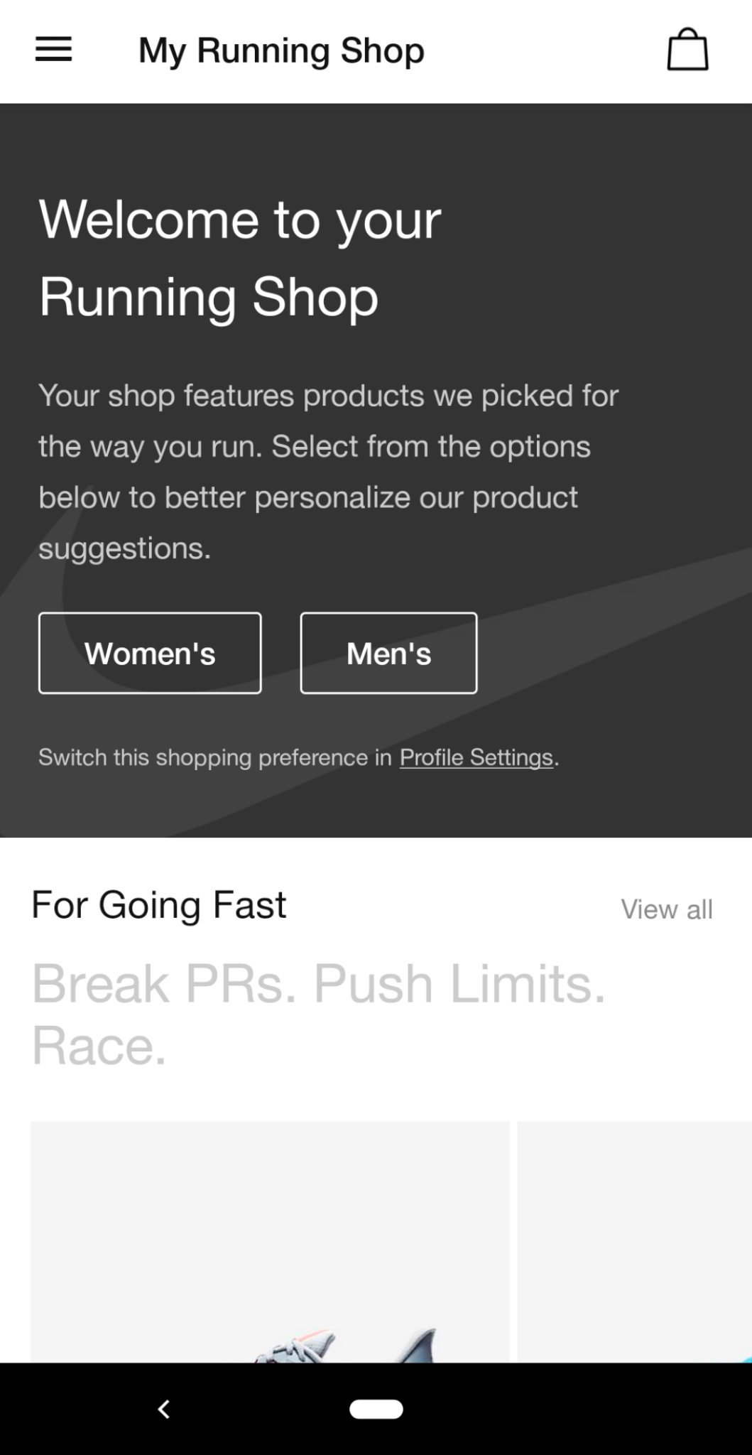this is a mobile screenshot from the nike run club app running shop that shows a personalized fitness shop experience. this is an example of good ecommerce ux