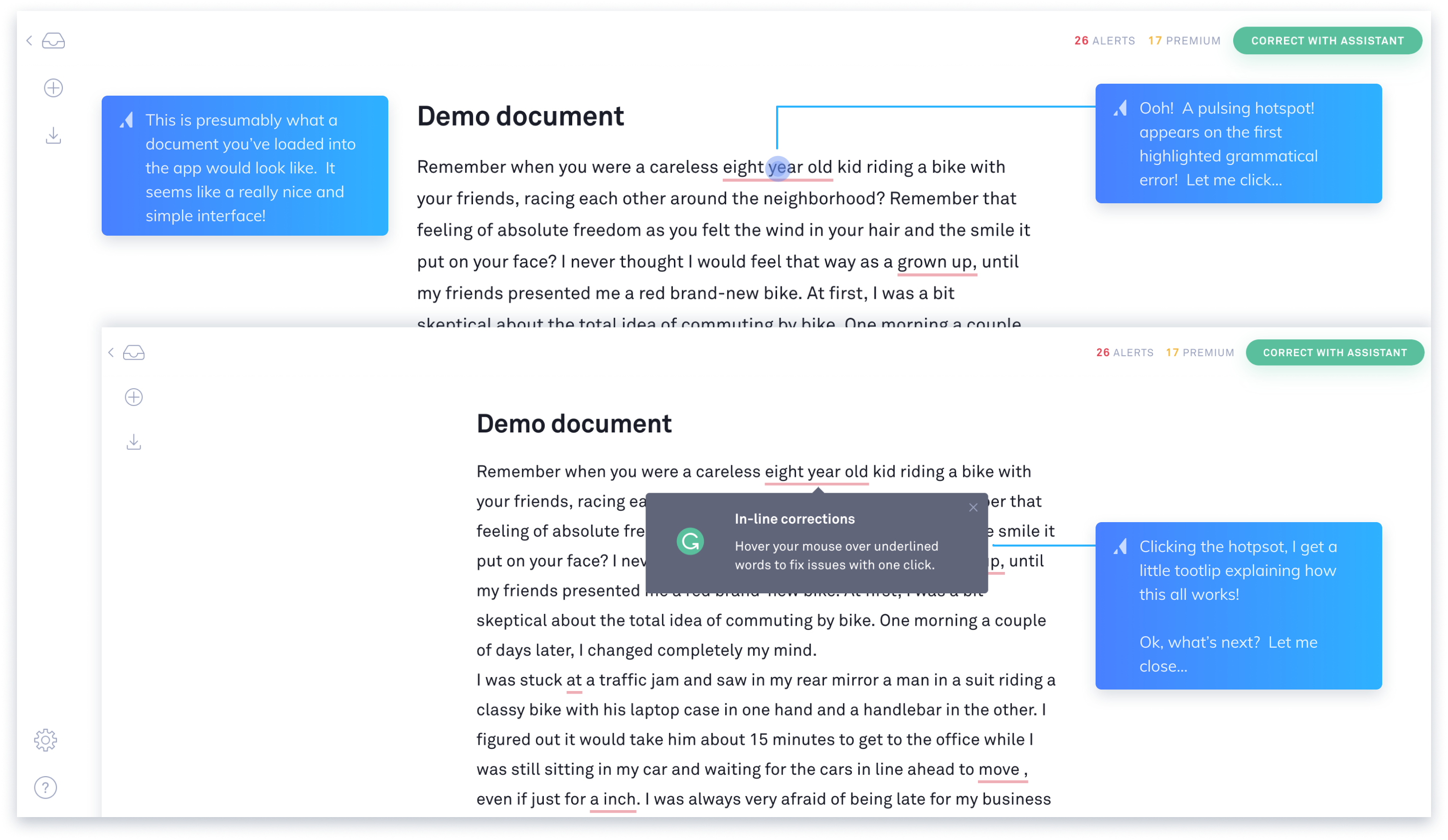 this is a marked up screenshot image of grammarly's onboarding experience. this is a teardown review of grammarly's UX