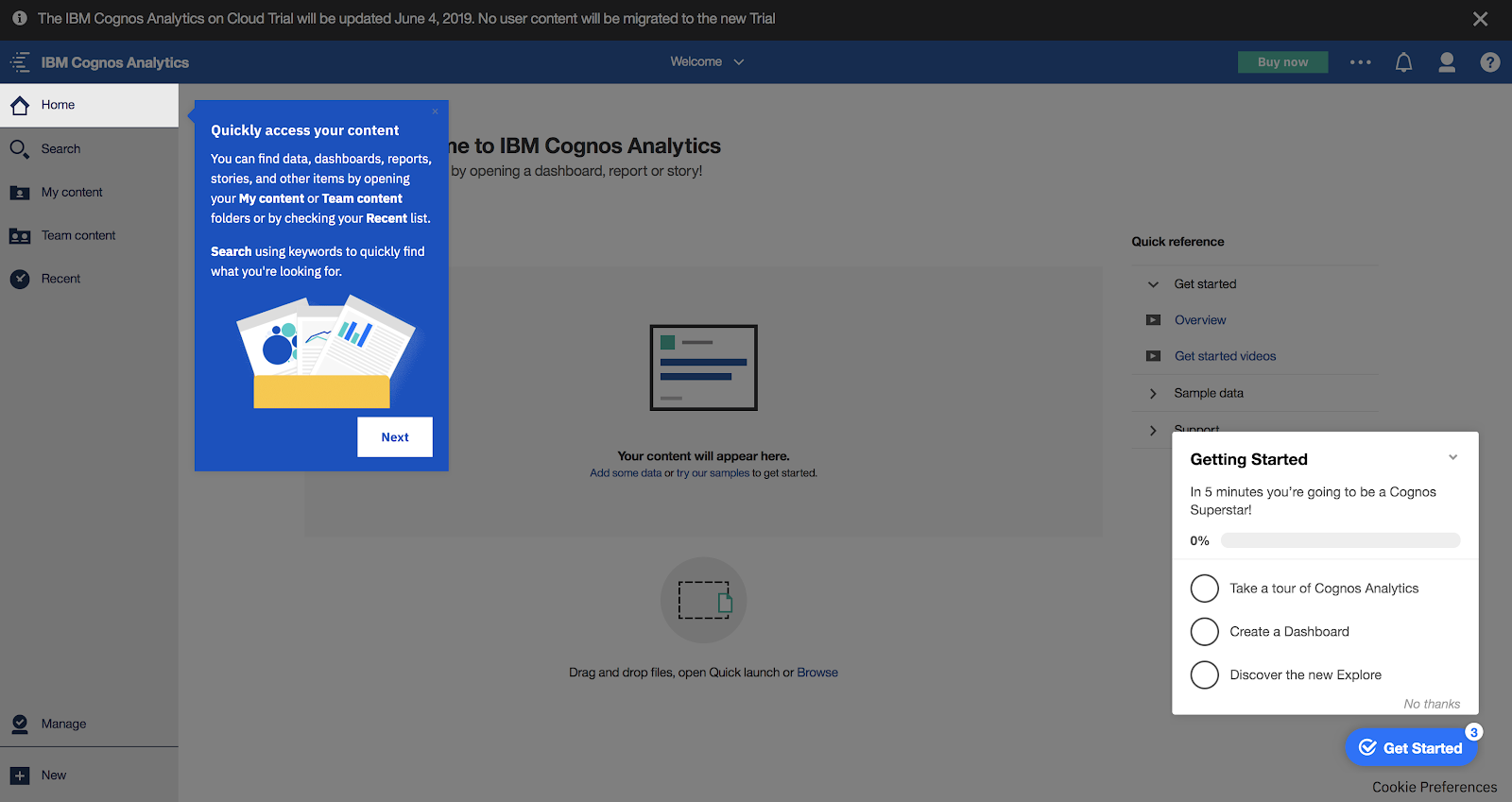 This is a screenshot image of IBM Cognos Analytics tool's user onboarding experience. This is a great example of conumer grade enterprise UX. This image shows an IBM tooltip example along with an onboarding checklist example