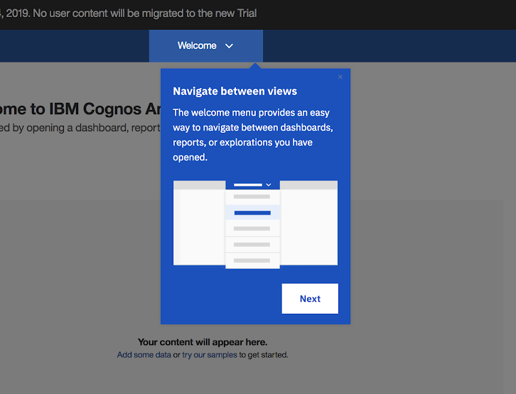 This is a screenshot image of IBM Cognos Analytics tool's user onboarding experience. This is a great example of conumer grade enterprise UX. This image shows an IBM tooltip example