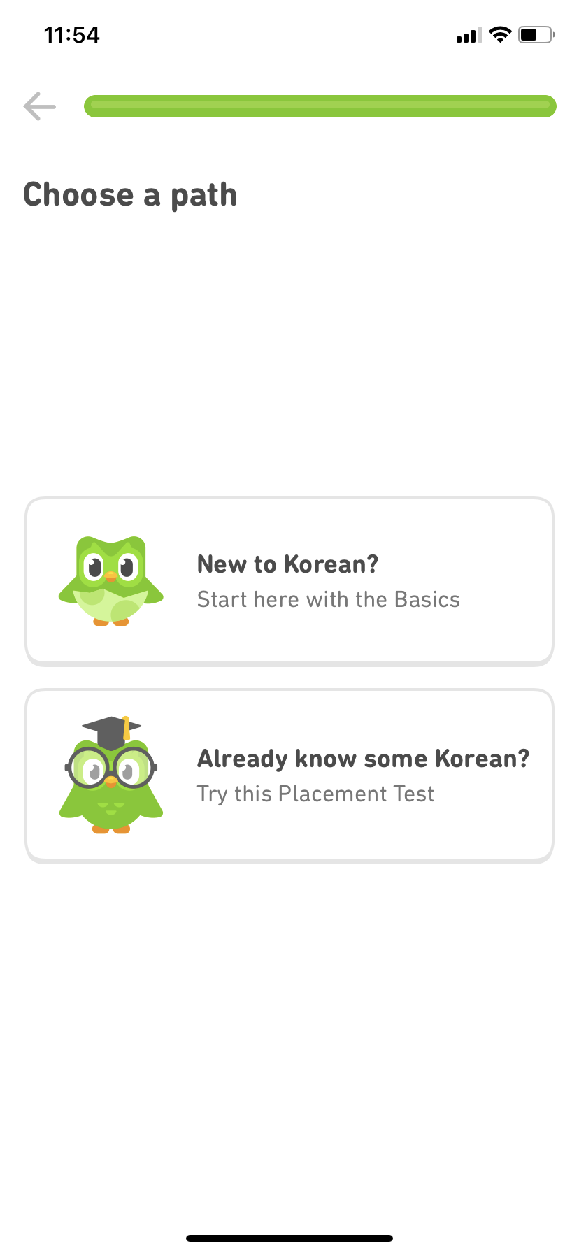 screenshot image of duolingo mobile app's user onboarding experience. this screen asks users to choose their language level. this is a great example of user onboarding for mobile