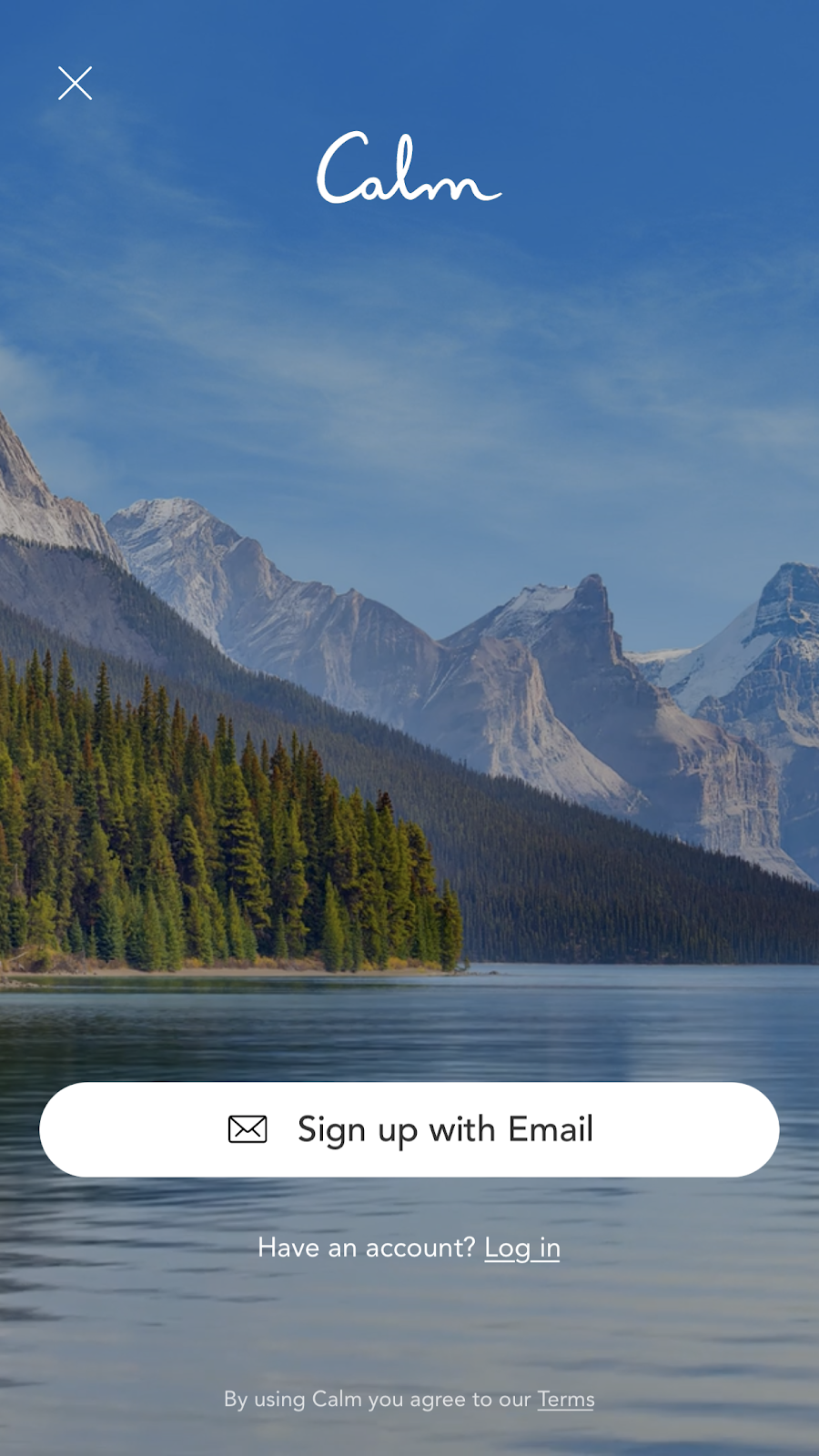 mobile screenshot from mindfulness app Calm. this is the signup screen—there is a CTA button to sign up with email