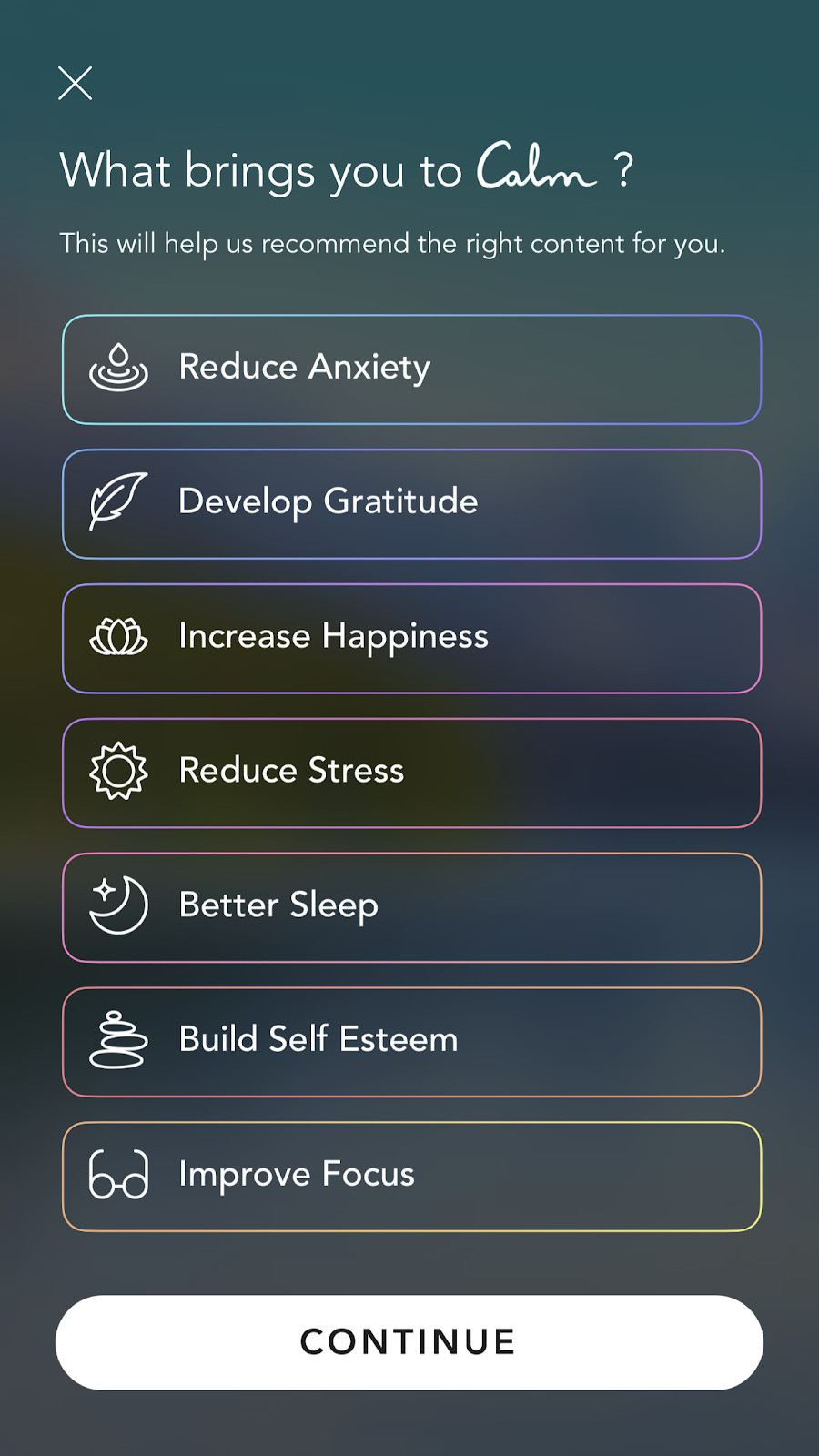 mobile screenshot from mindfulness app Calm. this screen shows new user onboarding personalization questions