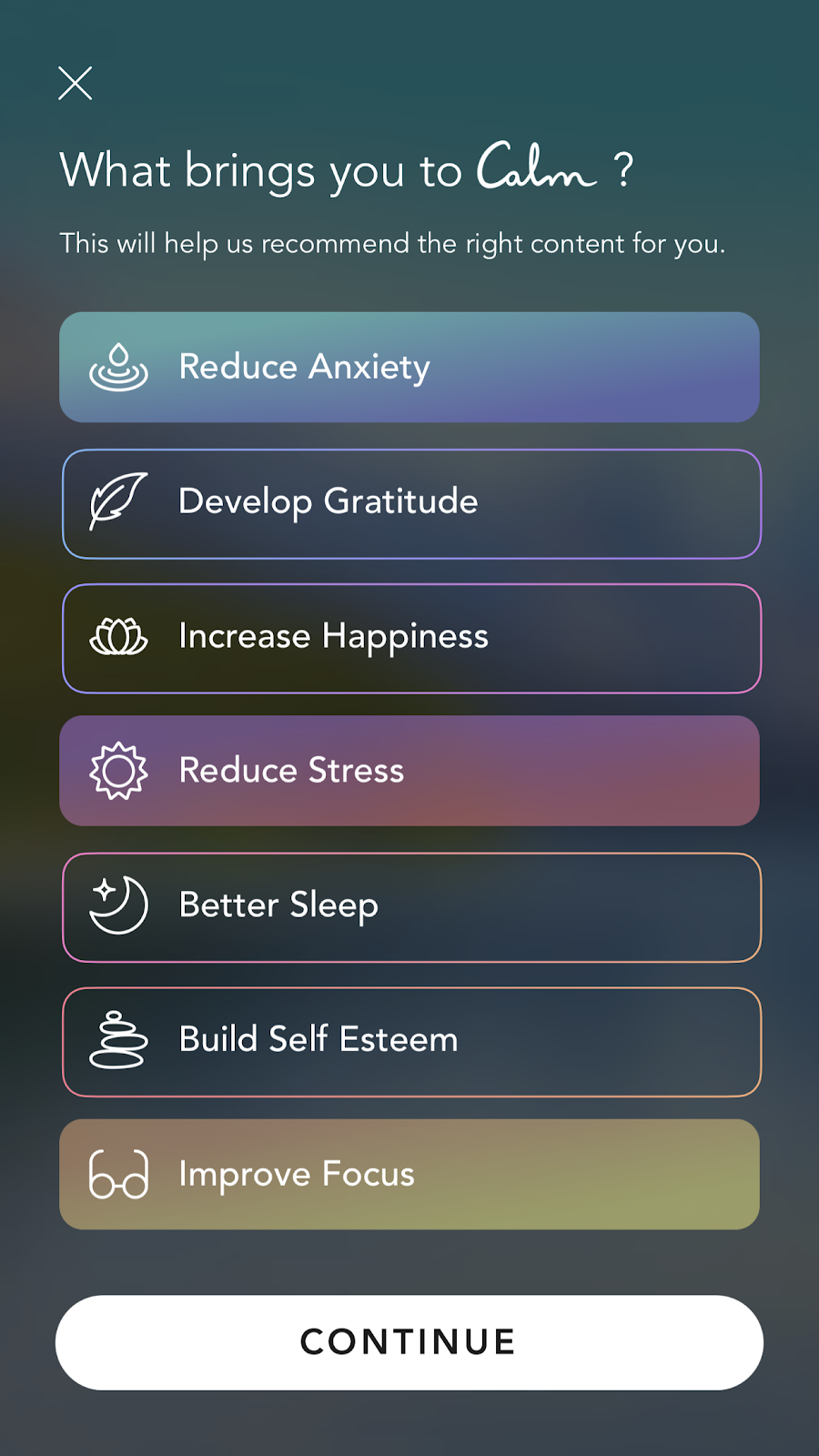 mobile screenshot from mindfulness app Calm. this screen shows new user onboarding personalization questions and declared user data