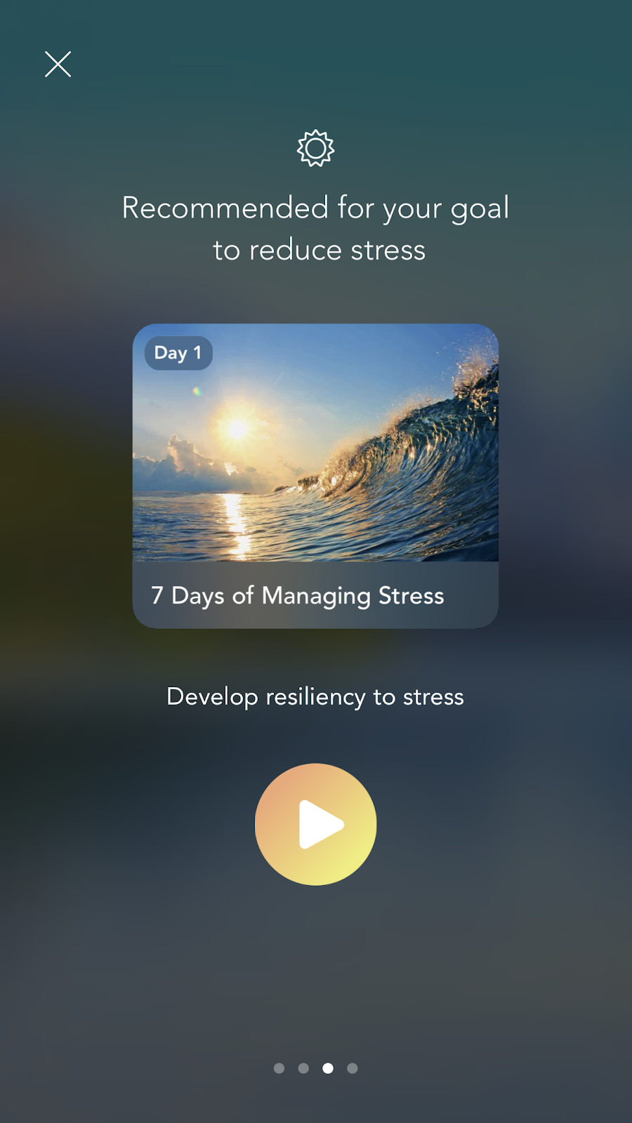 mobile screenshot from mindfulness app Calm. this full screen mobile modal is an example of a personalized ux based on declared user data