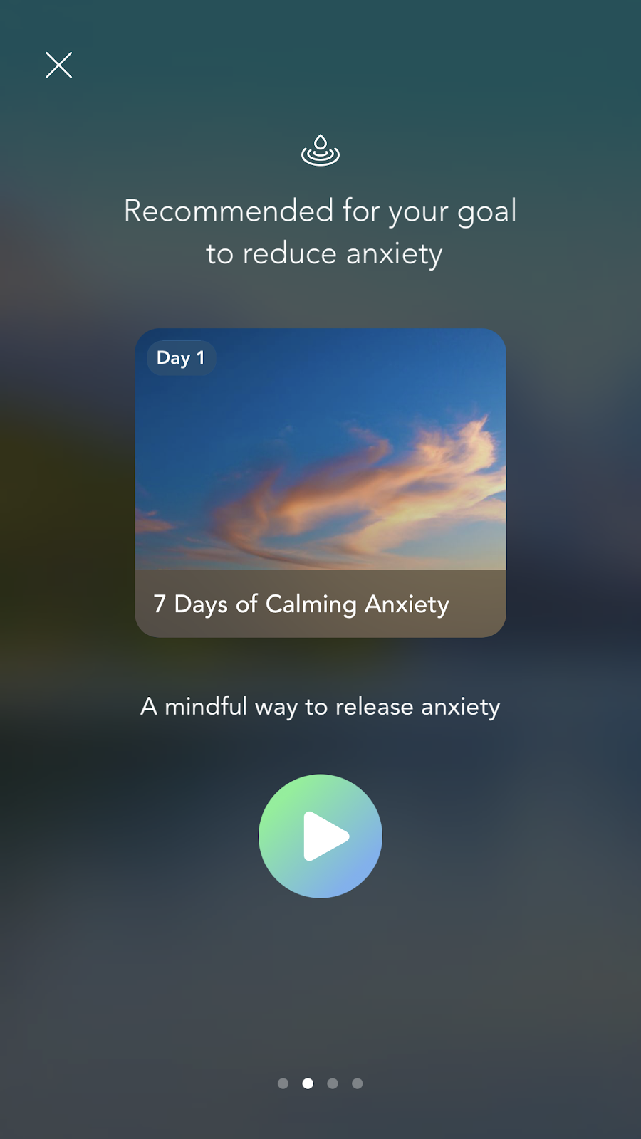 mobile screenshot from mindfulness app Calm. this screen is an example of a personalized ux based on declared user data