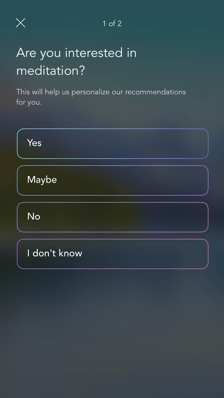 mobile screenshot from mindfulness app Calm. this screen shows further personalization questions