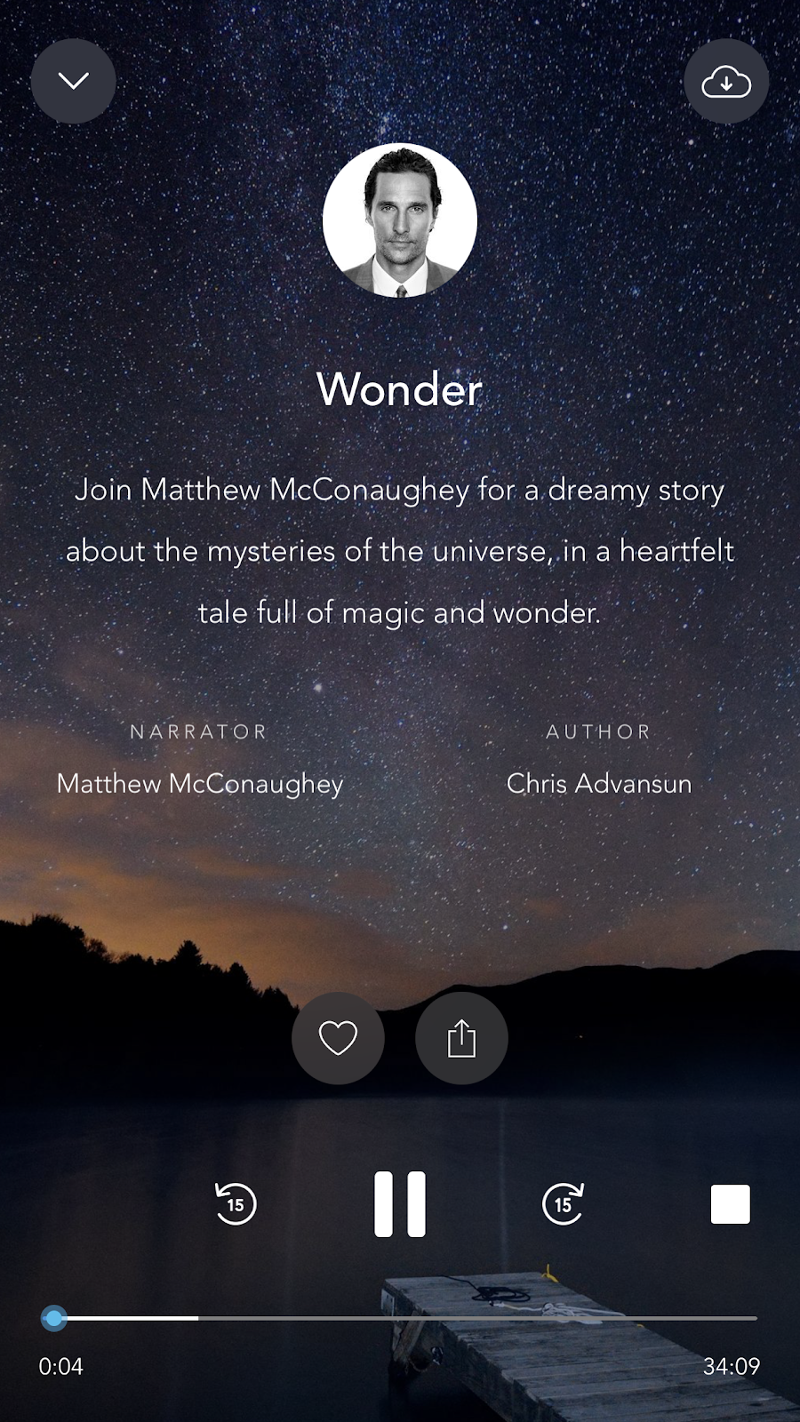 mobile screenshot from mindfulness app Calm with an audio story read by matthew mcconaughey