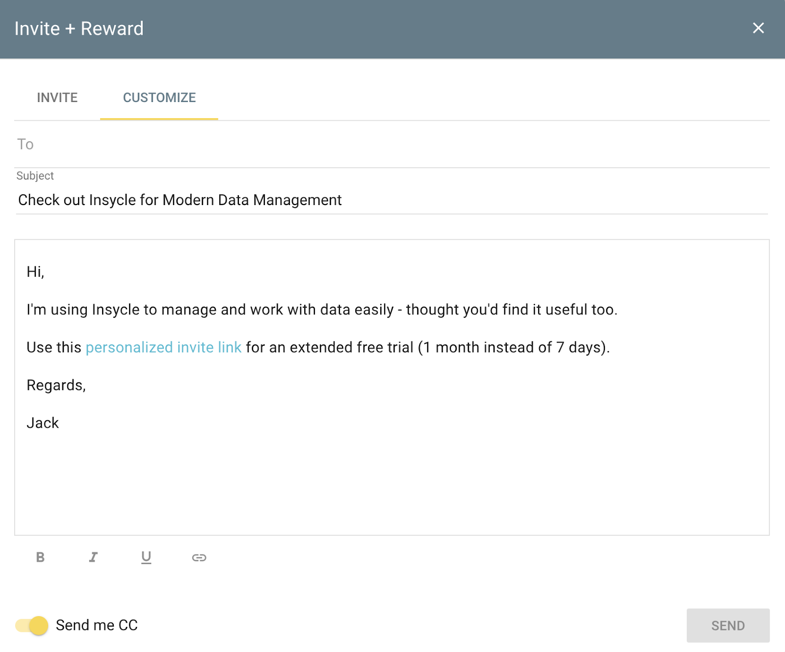 customer referral form saas data platform