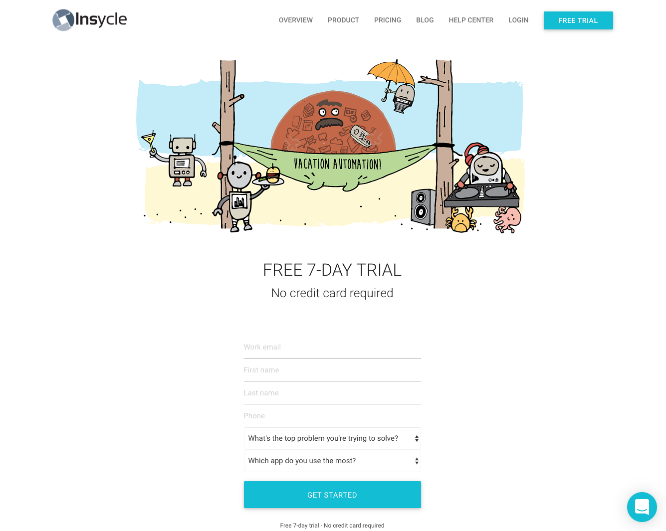 insycle new user signup form with illustration and declared data fields
