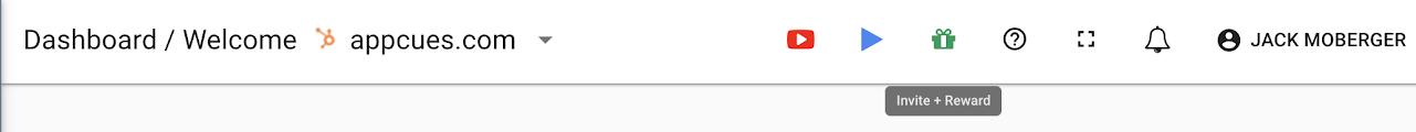 invite and reward button in top menu bar