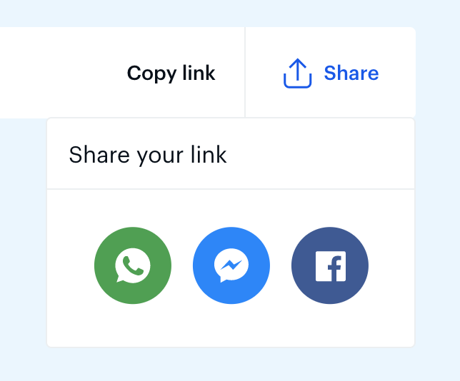 share link example with 3 social buttons for one click sharing