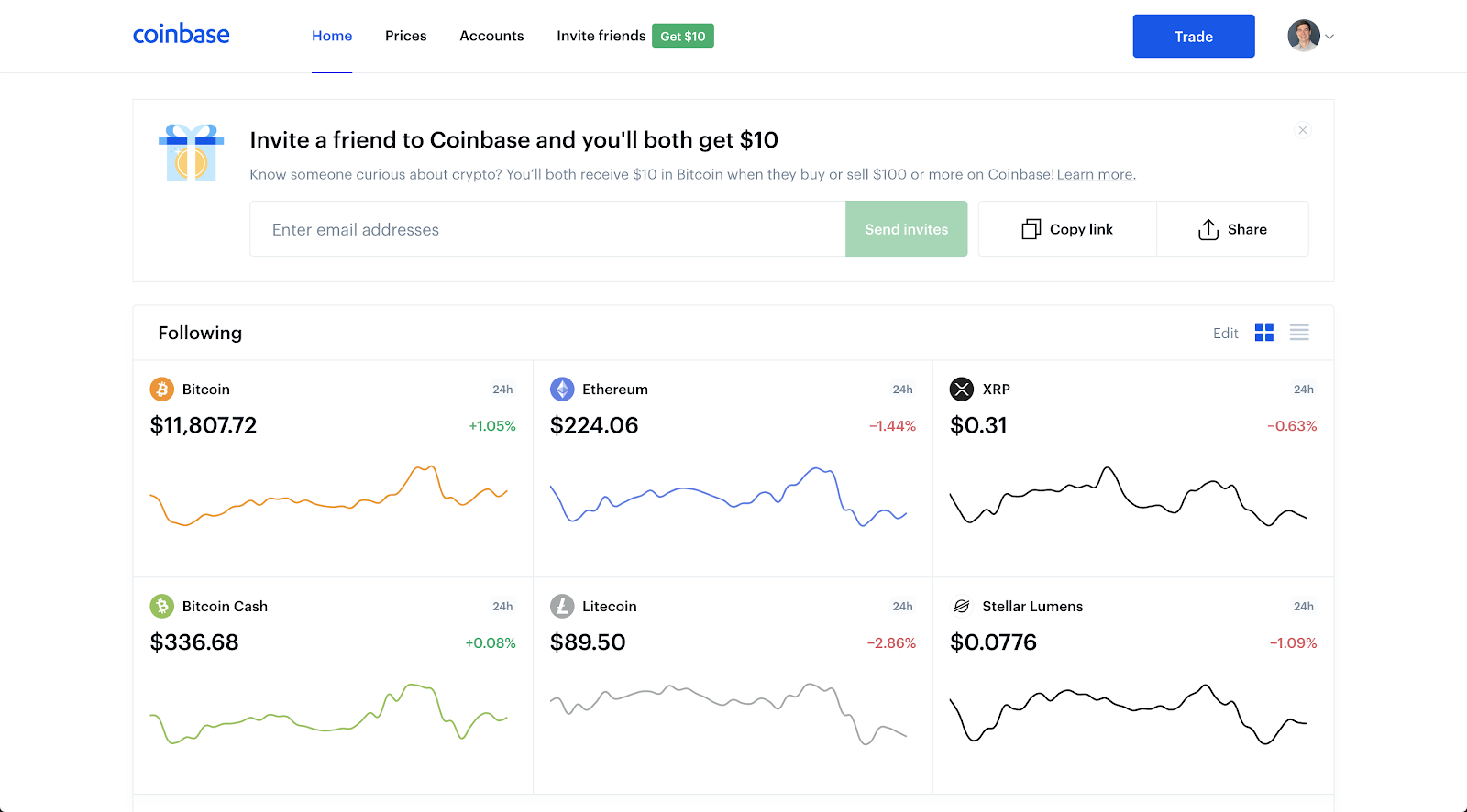 coinbase dashboard invite a friend reward prompt and referral rewards program