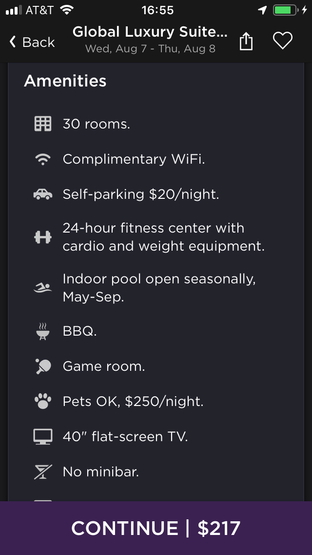hoteltonight mobile app amenities details