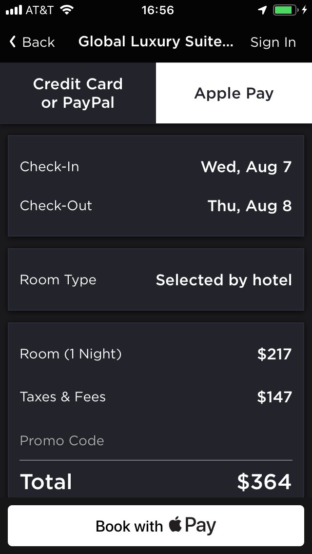 hoteltonight mobile app booking screen with added taxes and fees