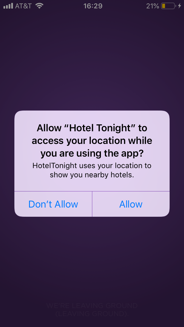 hoteltonight mobile app push notification permission request