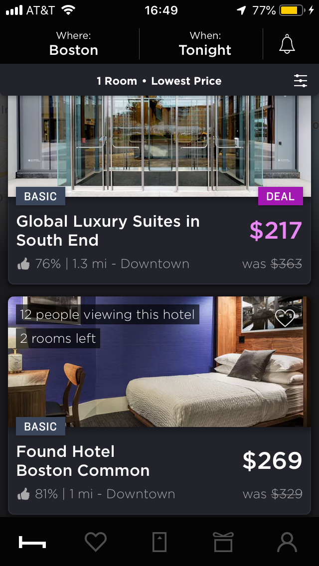 hoteltonight mobile app hotel search price results with filters applied