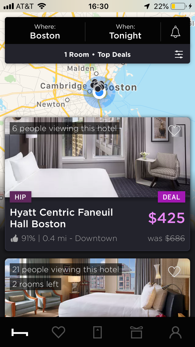 hoteltonight mobile app hotel search price results for boston