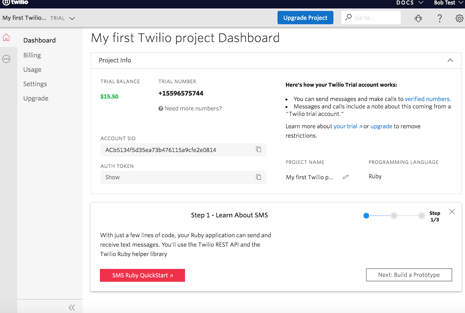 twilio first project dashboard with sms task setup quickstart guide