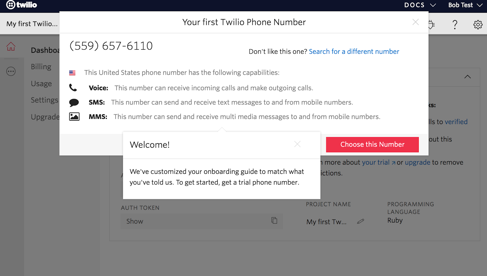 modal window to set up first twilio phone number