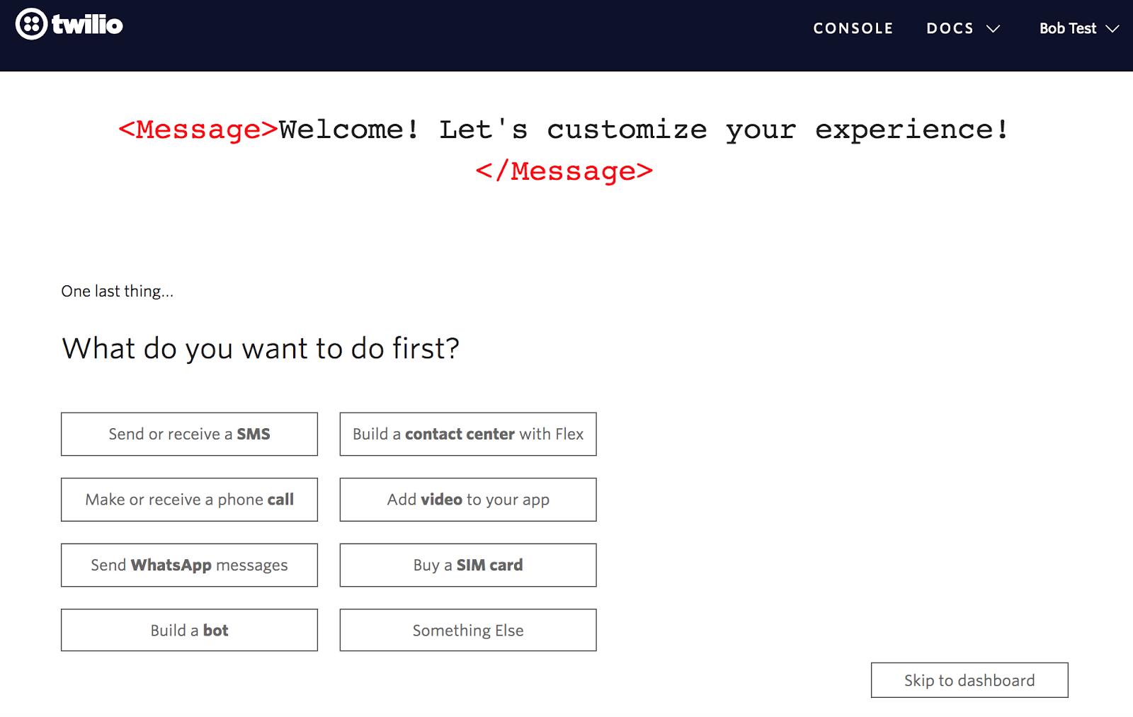 twilio user onboarding set user goals choose the first task