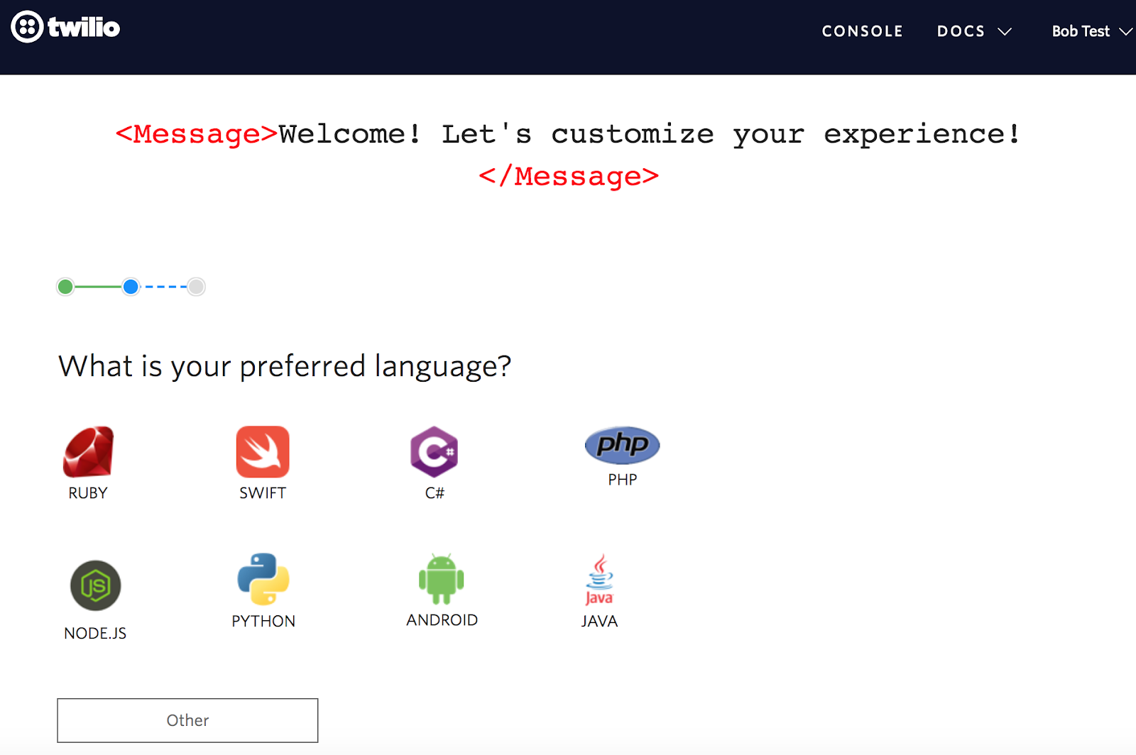 twilio user onboarding flow for developers. step 2 question