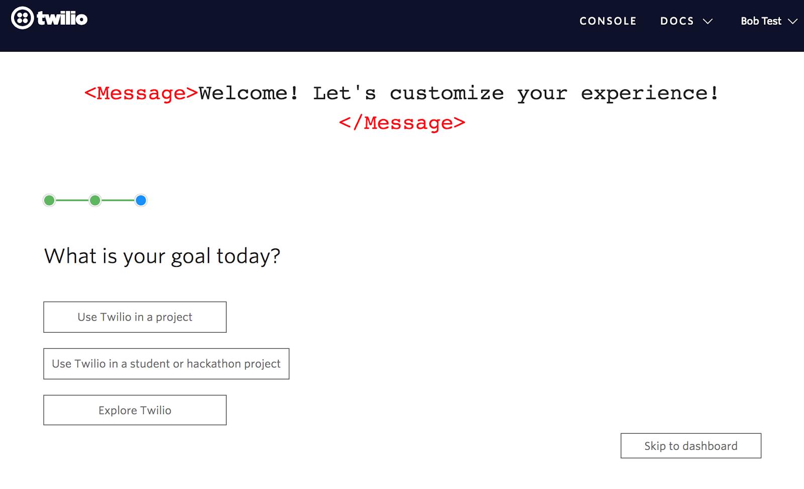 twilio user onboarding user goals