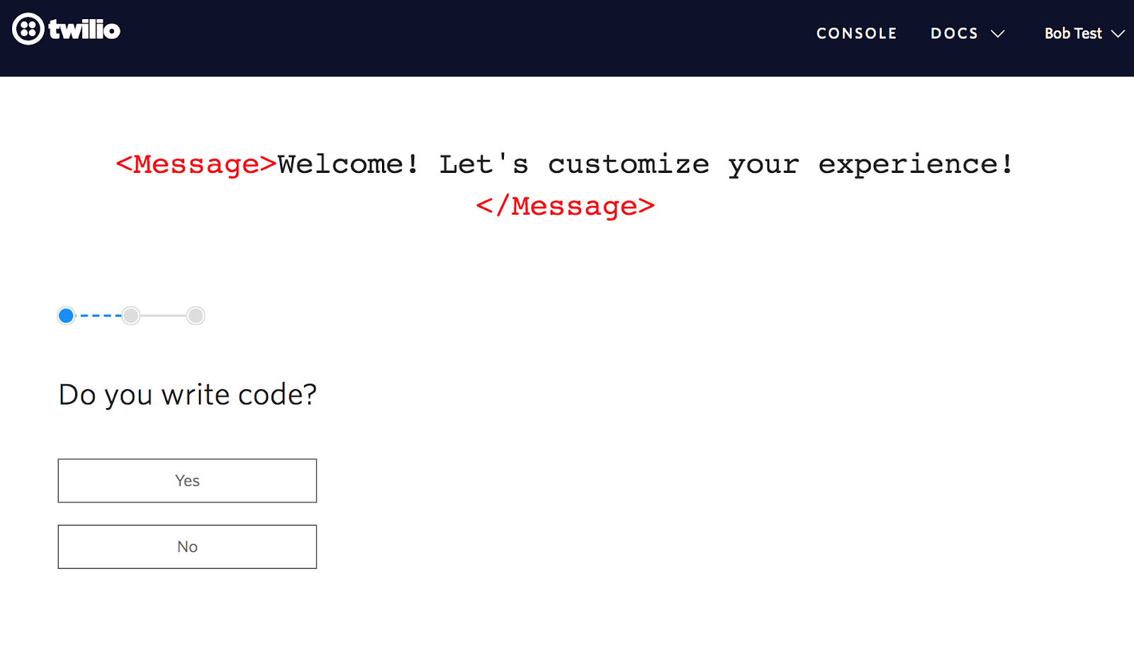 twilio user onboarding flow for developers pstep 1 personalizing question