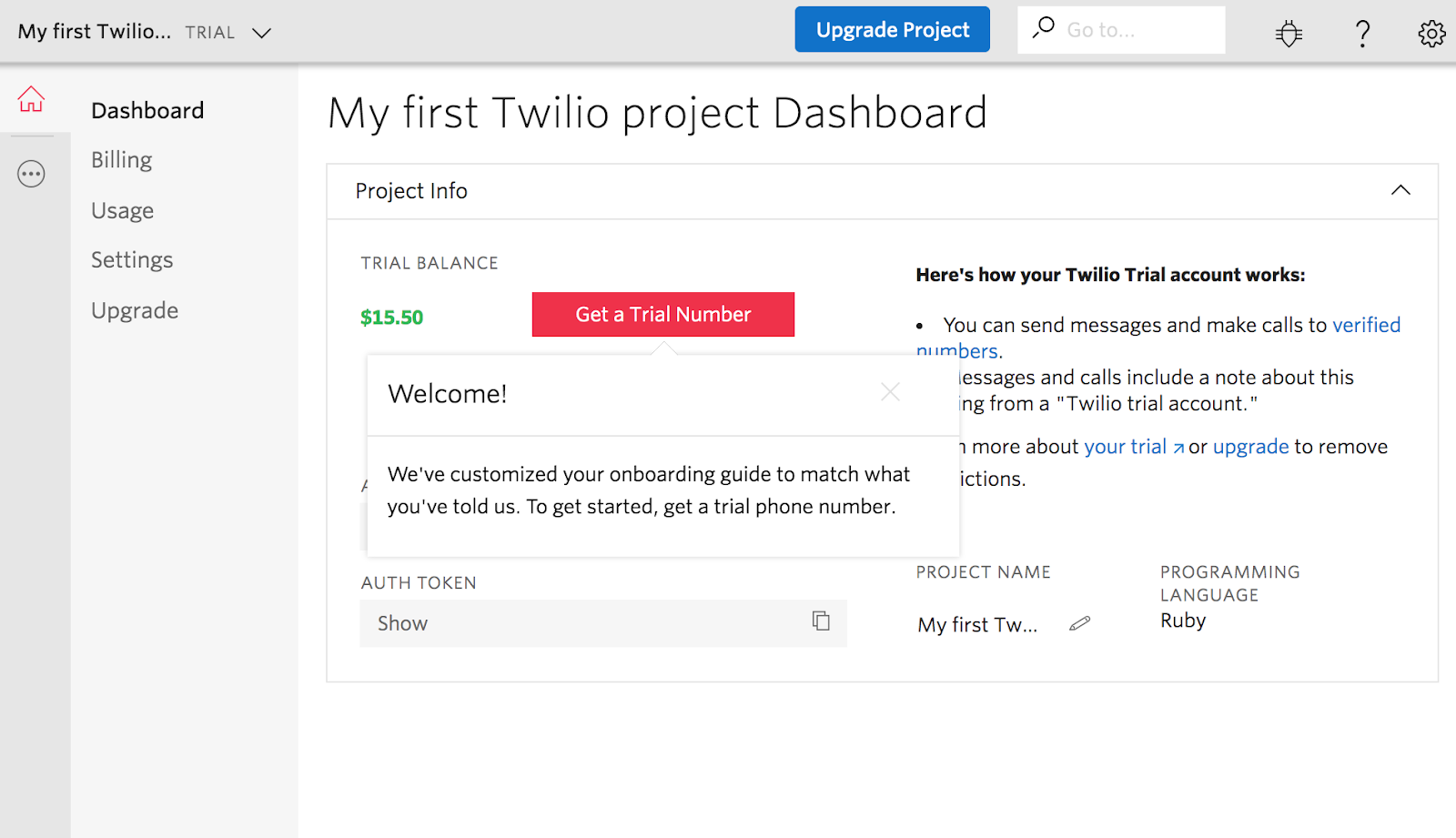 twilio first project dashboard new user experience with tooltip
