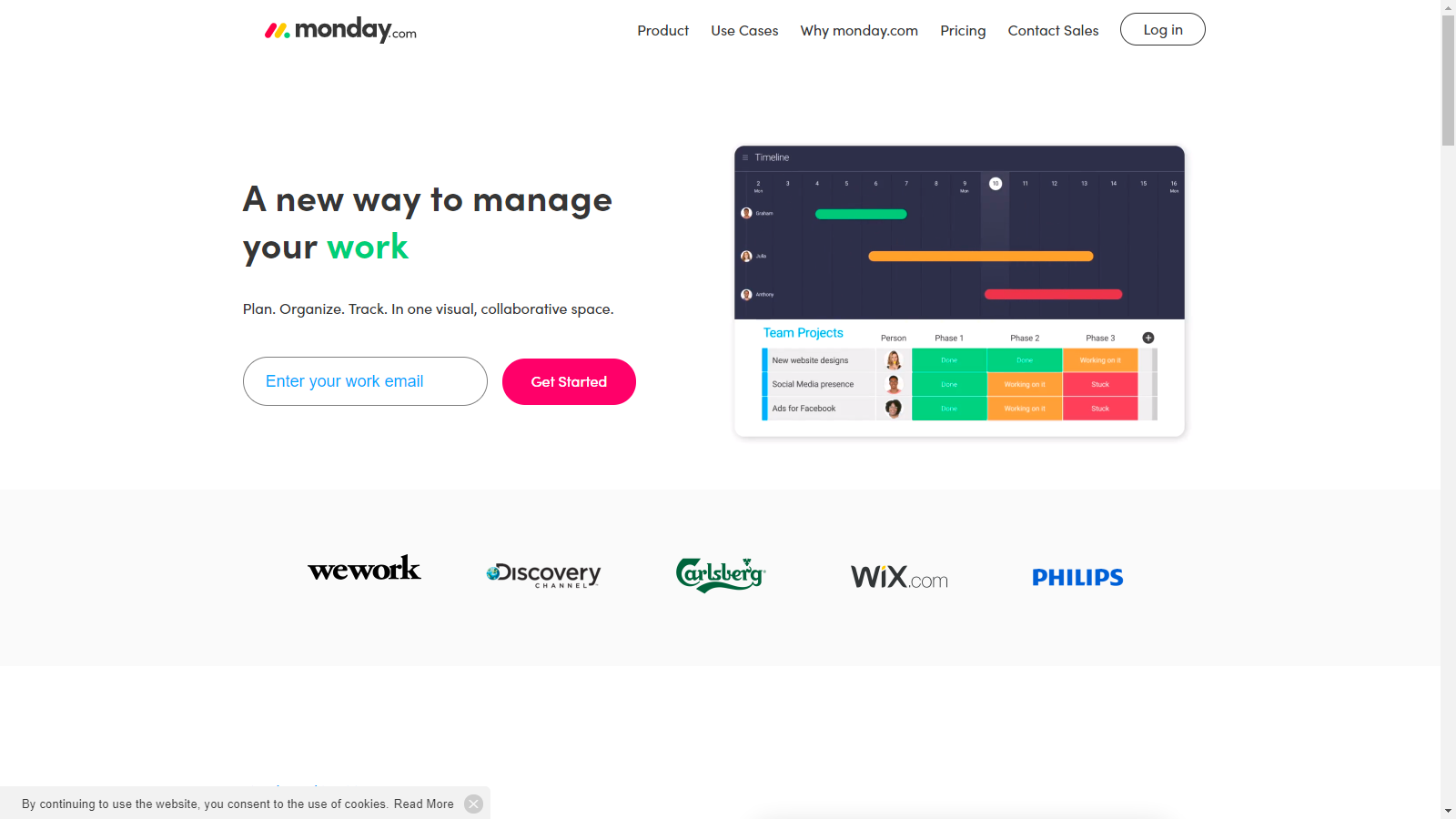 monday.com  marketing website landing page with single signup field for work email