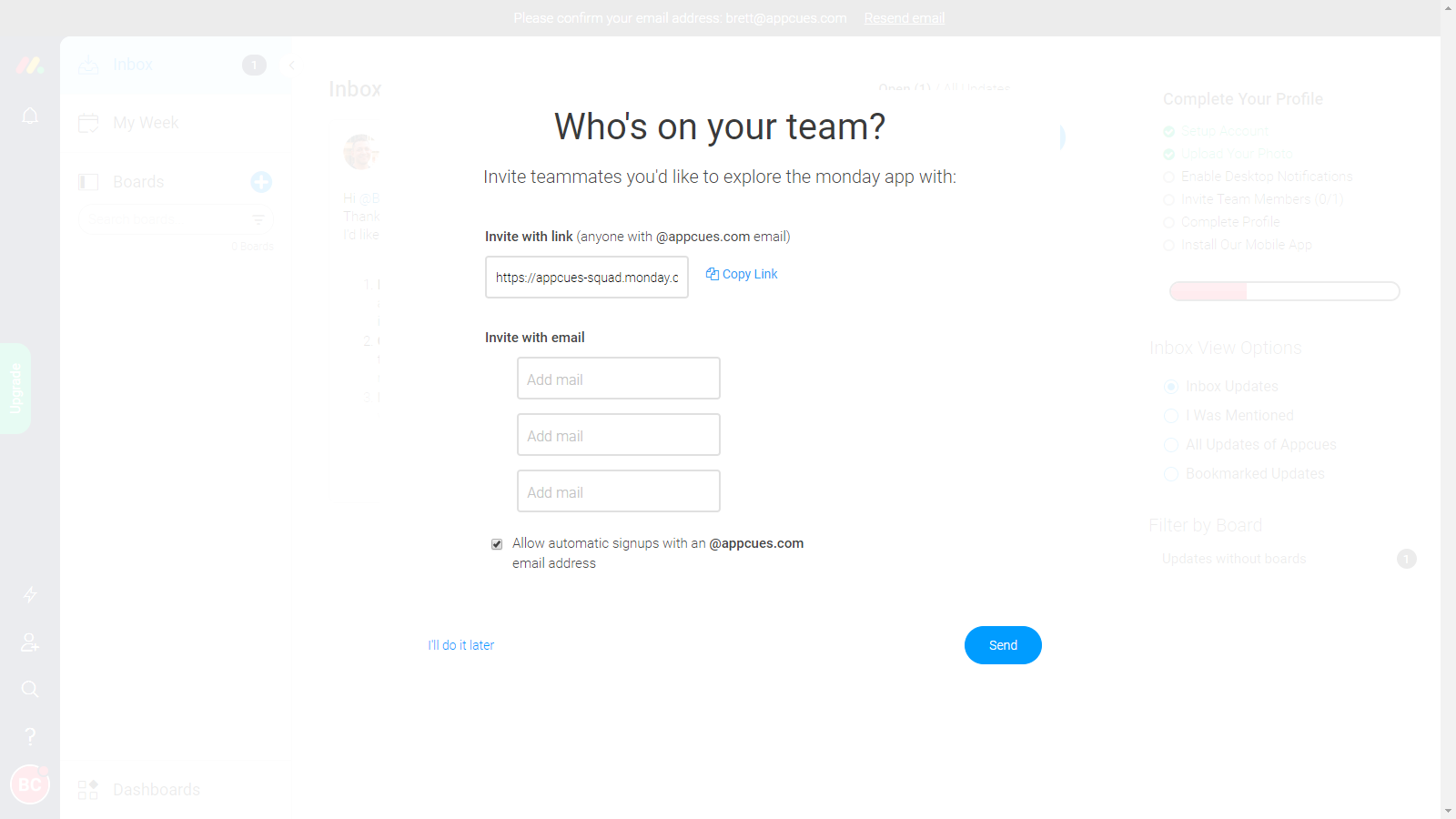 user invite prompt modal window example with easy options for inviting teammates